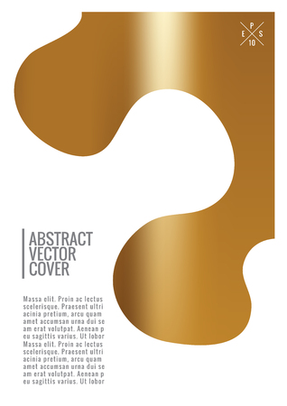 Gold cover design template. Notebook exotic layout. Backdrop for corporate annual report, poster, magazine first page. Minimal leaflet, business flyer. Promotion concept card. A4 flat abstract cover Illustration