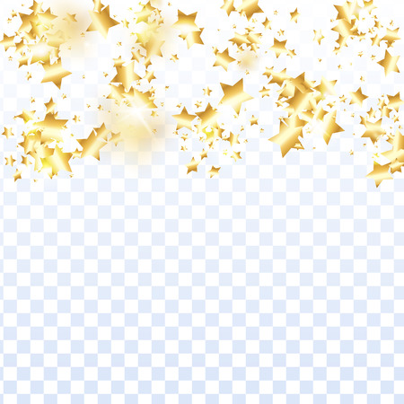 Gold star confetti on transparent background.  Minimalistic fallen particle. Holiday vector colorful confetti. Sparkle bright decoration backdrop. New Year card template