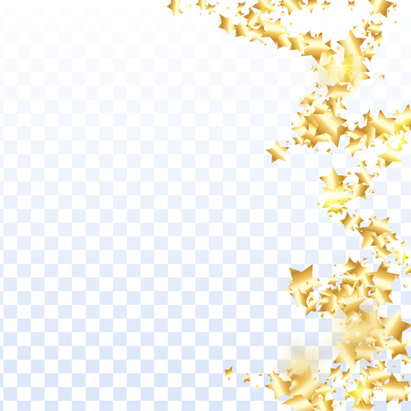 Gold star confetti on transparent background. Minimalistic fallen particle. Abstract vector colorful confetti. Sparkle bright decoration backdrop. Christmas card template