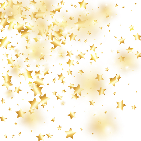 Gold star confetti on white background.  Flying shiny sparkle particles. Holiday vector colorful confetti. Sparkle bright decoration backdrop. New Year card template