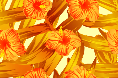 Orange yellow exotic pattern. Monstera and hibiscus flowers tropical bouquet. Saturated large floral swimwear print. Horizontal california natural texture design. Bonny spring botanical design.