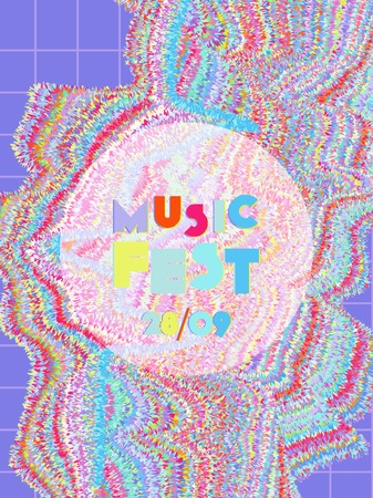Music cover in blue, violet, pink, green colors. School concert flyer. Minimal line brochure. Waveform layout. Geometric audio cover. Creative party advertise. Vintage wave template.