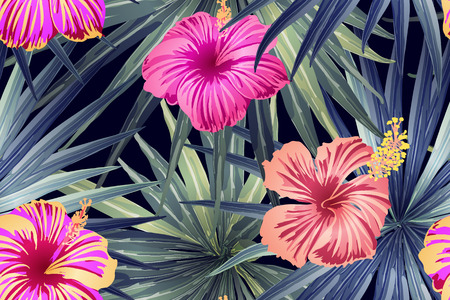 Green red exotic pattern. Monstera leaves and hibiscus flowers in summer print. Saturated large floral swimwear print. Horizontal romantic wild vector exotic tile. Hypernatural botanic design. Vektorové ilustrace