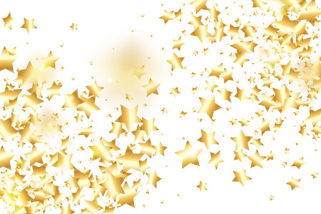Gold star confetti on white background.  Flying shiny sparkle shower. Abstract vector colorful confetti. Sparkle bright decoration backdrop. Surprise card template