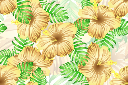 Tropical pattern. Orange green exotic summer flower vector background. Beauty fasion monstera, palm leaves and hibiscus flowers. Hawaiian tropic jungle endless print. Natural swimwear design. Ilustrace