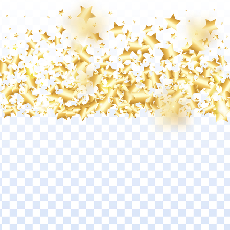 Gold star confetti on transparent background. Flying shiny sparkle particles. Abstract vector colorful confetti. Sparkle bright decoration backdrop. New Year card template