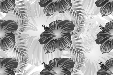 Tropical pattern. White and black exotic summer flower vector background. Beauty fasion monstera, palm leaves and hibiscus flowers. Hawaiian tropic jungle endless print. Natural swimwear design.