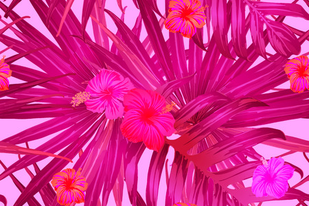 Rosarotes exotisches Muster. Monsterablätter und Hibiskusblüten im Sommerdruck. Hawaiianisches T-Shirt und Badebekleidungsfliese. Horizontale romantische wilde Vektor exotische Fliese. Hypernatürliches botanisches Design. Vektorgrafik