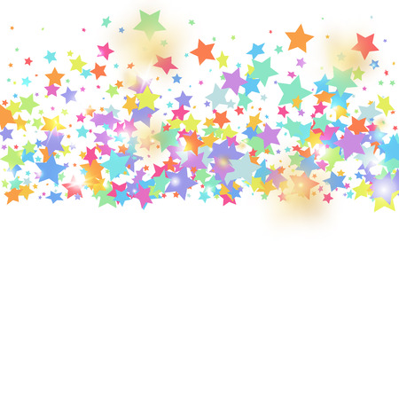 Green, red, yellow,pink star confetti on white background. Flying shiny sparkle shower. Holiday vector colorful confetti. Sparkle bright decoration backdrop. Christmas card template