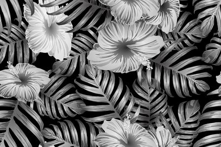 Schwarz-weißes exotisches Muster. Monstera und Hibiskusblüten tropisches Bouquet. Gesättigter großer floraler Bademoden-Print. Horizontales kalifornisches natürliches Texturdesign. Bonny Frühlingsbotanisches Design. Vektorgrafik