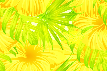 Yellow exotic pattern. Monstera and hibiscus flowers tropical bouquet.  Hawaiian t-shirt and swimwear tile.  Horizontal romantic wild vector exotic tile. Bonny spring botanical design.