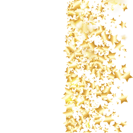 Gold star confetti on white background.  Flying shiny sparkle particles. Holiday vector colorful confetti. Sparkle bright decoration backdrop. Christmas card template