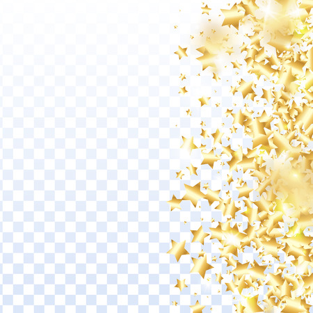 Gold star confetti on transparent background.  Minimalistic fallen particle. Holiday vector colorful confetti. Birthday party backdrop. Christmas card template