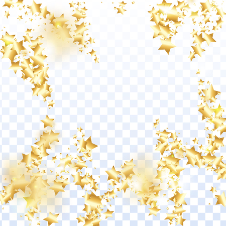 Gold star confetti on transparent background.  Flying shiny sparkle shower. Abstract vector colorful confetti. Birthday party backdrop. New Year card template Illustration