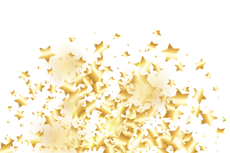 Gold star confetti on white background. Flying shiny sparkle shower. Holiday vector colorful confetti. Birthday party backdrop. Christmas card template