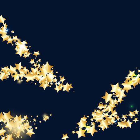 Gold star confetti on black background. Flying shiny sparkle shower. Abstract vector colorful confetti. Sparkle bright decoration backdrop. New Year card template