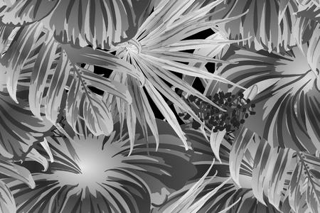 Schwarz-weißes exotisches Muster. Monsterablätter und Hibiskusblüten im Sommerdruck. Hawaiianisches T-Shirt und Badebekleidungsfliese. Horizontale romantische wilde Vektor exotische Fliese. Hypernatürliches botanisches Design. Vektorgrafik