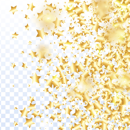 Gold star confetti on transparent background. Flying shiny sparkle particles. Abstract vector colorful confetti. Birthday party backdrop. Christmas card template