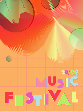 Music cover in blue, violet, pink, green colors. Rock concert flyer. Minimal line brochure. Sound background. Geometric audio cover. Media party ads. Vintage wave template.
