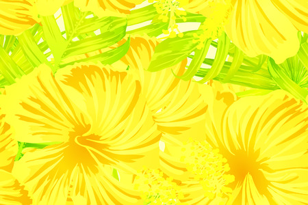 Yellow exotic pattern. Monstera leaves and hibiscus flowers in summer print.  Saturated large floral swimwear print. Horizontal california natural texture design. Bonny spring botanical design. Illustration