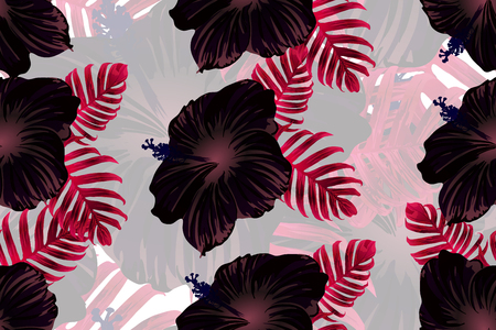 Tropical pattern. Red and black exotic summer flower vector background. Beauty fasion monstera, palm leaves and hibiscus flowers. Hawaiian tropic jungle endless print. Natural swimwear design.