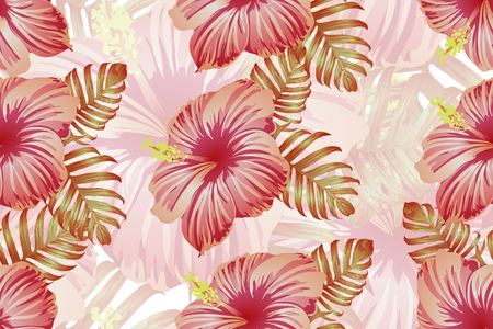 Tropical pattern. Red pink green exotic summer flower vector background. Beauty fasion monstera, palm leaves and hibiscus flowers. Hawaiian tropic jungle endless print. Natural swimwear design. 向量圖像