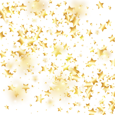 Gold star confetti on white background. Flying shiny sparkle shower. Abstract vector colorful confetti. Sparkle bright decoration backdrop. New Year card template