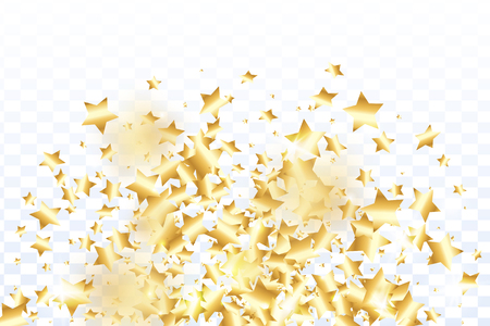 Gold star confetti on transparent background. Minimalistic fallen particle. Abstract vector colorful confetti. Birthday party backdrop. New Year card template