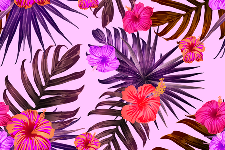 Pink red exotic pattern. Monstera leaves and hibiscus flowers in summer print.  Hawaiian t-shirt and swimwear tile.  Horizontal romantic wild vector exotic tile. Bonny spring botanical design. Illustration