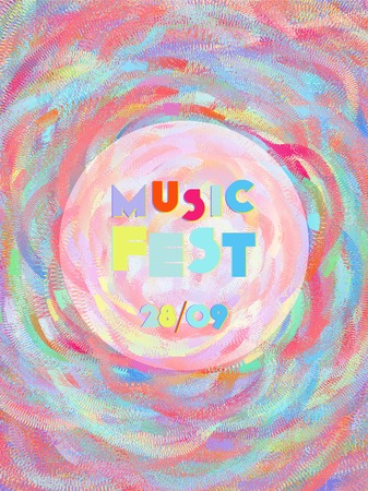 Music cover in blue, violet, pink, green colors. Rock concert flyer. Minimal line brochure. Sound background. Vibration audio cover. Creative party advertise. Vintage wave template.
