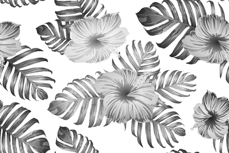 Black white exotic pattern. Monstera leaves and hibiscus flowers in summer print.  Saturated large floral swimwear print. Horizontal romantic wild vector exotic tile. Bonny spring botanical design. 矢量图像