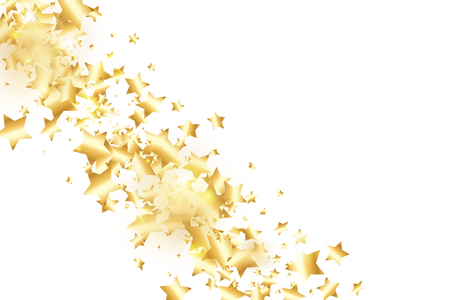 Gold star confetti on white background.  Flying shiny sparkle shower. Holiday vector colorful confetti. Birthday party backdrop. New Year card template