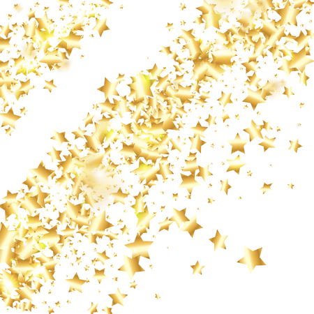 Gold star confetti on white background.  Minimalistic fallen particle. Abstract vector colorful confetti. Birthday party backdrop. Surprise card template Ilustração