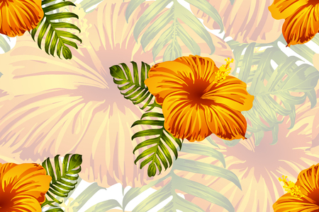 Tropical pattern. Orange green exotic summer flower vector background. Beauty fasion monstera, palm leaves and hibiscus flowers. Hawaiian tropic jungle endless print. Natural swimwear design.  イラスト・ベクター素材