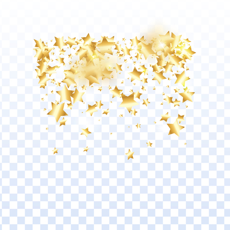 Gold star confetti on transparent background. Flying shiny sparkle shower. Abstract vector colorful confetti. Birthday party backdrop. New Year card template