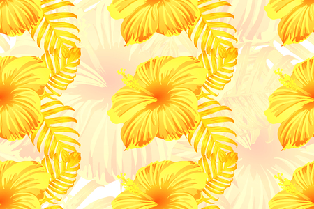 Tropical pattern. Yellow exotic summer flower vector background. Beauty fasion monstera, palm leaves and hibiscus flowers. Hawaiian tropic jungle endless print. Natural swimwear design. Ilustração
