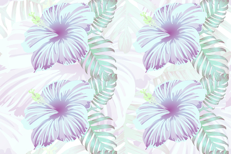 Tropical pattern. Cyan, white, blue exotic summer flower vector background. Beauty fasion monstera, palm leaves and hibiscus flowers. Hawaiian tropic jungle endless print. Natural swimwear design. 일러스트