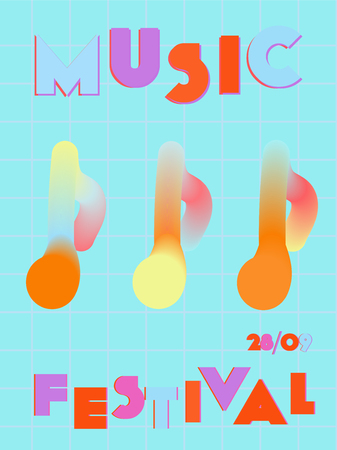 Music cover in blue, violet, pink, green colors. Radio concert flyer. Minimal line brochure. Amplitude layout. Vibration audio cover. Creative party advertise. Vintage wave template.