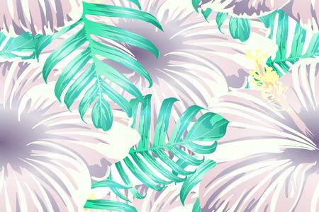 Cyan exotic pattern. Monstera and hibiscus flowers tropical bouquet. Hawaiian t-shirt and swimwear tile. Horizontal california natural texture design. Hypernatural botanic design. Vektoros illusztráció