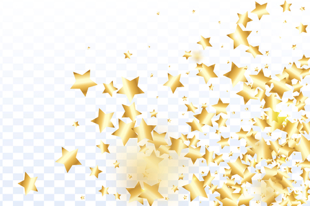 Gold star confetti on transparent background.  Flying shiny sparkle particles. Holiday vector colorful confetti. Birthday party backdrop. Surprise card template