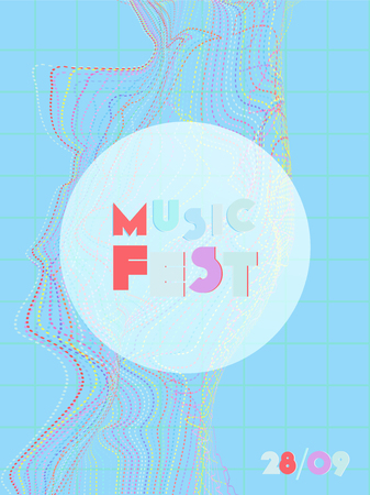 Music cover in blue, violet, pink, green colors. School concert flyer. Minimal line brochure. Waveform layout. Vibration audio cover. Promotion party ads. Vintage wave template. Ilustrace