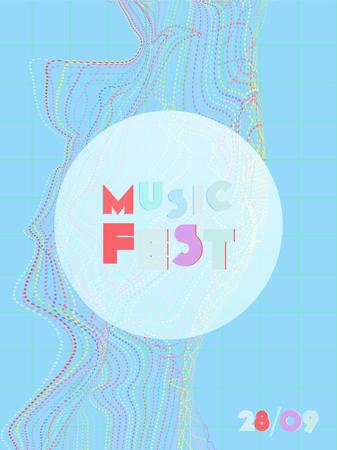 Music cover in blue, violet, pink, green colors. School concert flyer. Minimal line brochure. Waveform layout. Vibration audio cover. Promotion party ads. Vintage wave template. Illustration
