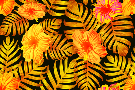 Orange yellow exotic pattern. Monstera leaves and hibiscus flowers in summer print.  Hawaiian t-shirt and swimwear tile.  Horizontal california natural texture design. Bonny spring botanical design. Standard-Bild - 124535763