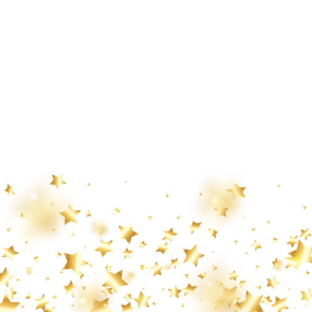 Gold star confetti on white background.  Minimalistic fallen particle. Abstract vector colorful confetti. Sparkle bright decoration backdrop. Surprise card template 일러스트