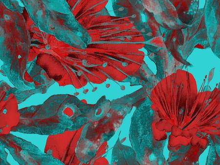 Conception florale audacieuse. Grande impression transparente d'Hawaï sur fond vert et bleu. Grand fond sans fin d'aquarelle d'été hawaïen Maracuja. Design Floral Audacieux Artistique.
