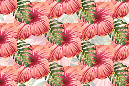 Tropical pattern. Red pink green exotic summer flower vector background. Beauty fasion monstera, palm leaves and hibiscus flowers. Hawaiian tropic jungle endless print. Natural swimwear design. Standard-Bild - 124536357