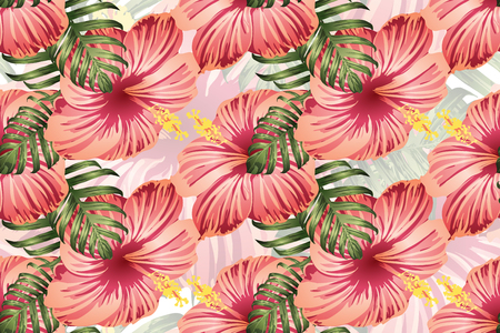 Tropical pattern. Red pink green exotic summer flower vector background. Beauty fasion monstera, palm leaves and hibiscus flowers. Hawaiian tropic jungle endless print. Natural swimwear design. Standard-Bild - 124536528