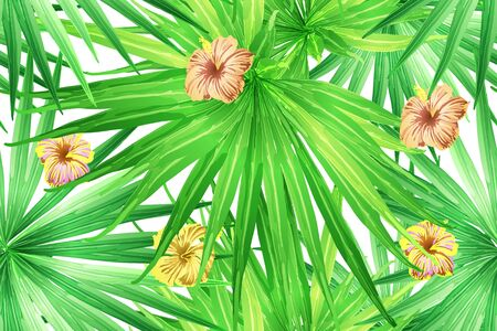 Green yellow exotic pattern. Monstera leaves and hibiscus flowers in summer print.  Saturated large floral swimwear print. Horizontal california natural texture design. Hypernatural botanic design.