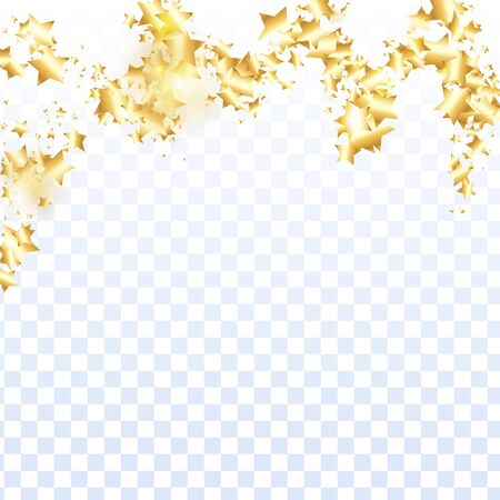 Gold star confetti on transparent background.  Flying shiny sparkle shower. Holiday vector colorful confetti. Sparkle bright decoration backdrop. Surprise card template Çizim