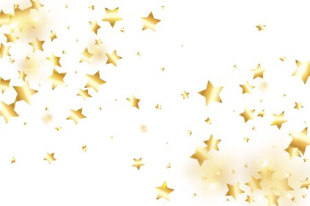 Gold star confetti on white background.  Flying shiny sparkle shower. Holiday vector colorful confetti. Sparkle bright decoration backdrop. Christmas card template Stock Illustratie